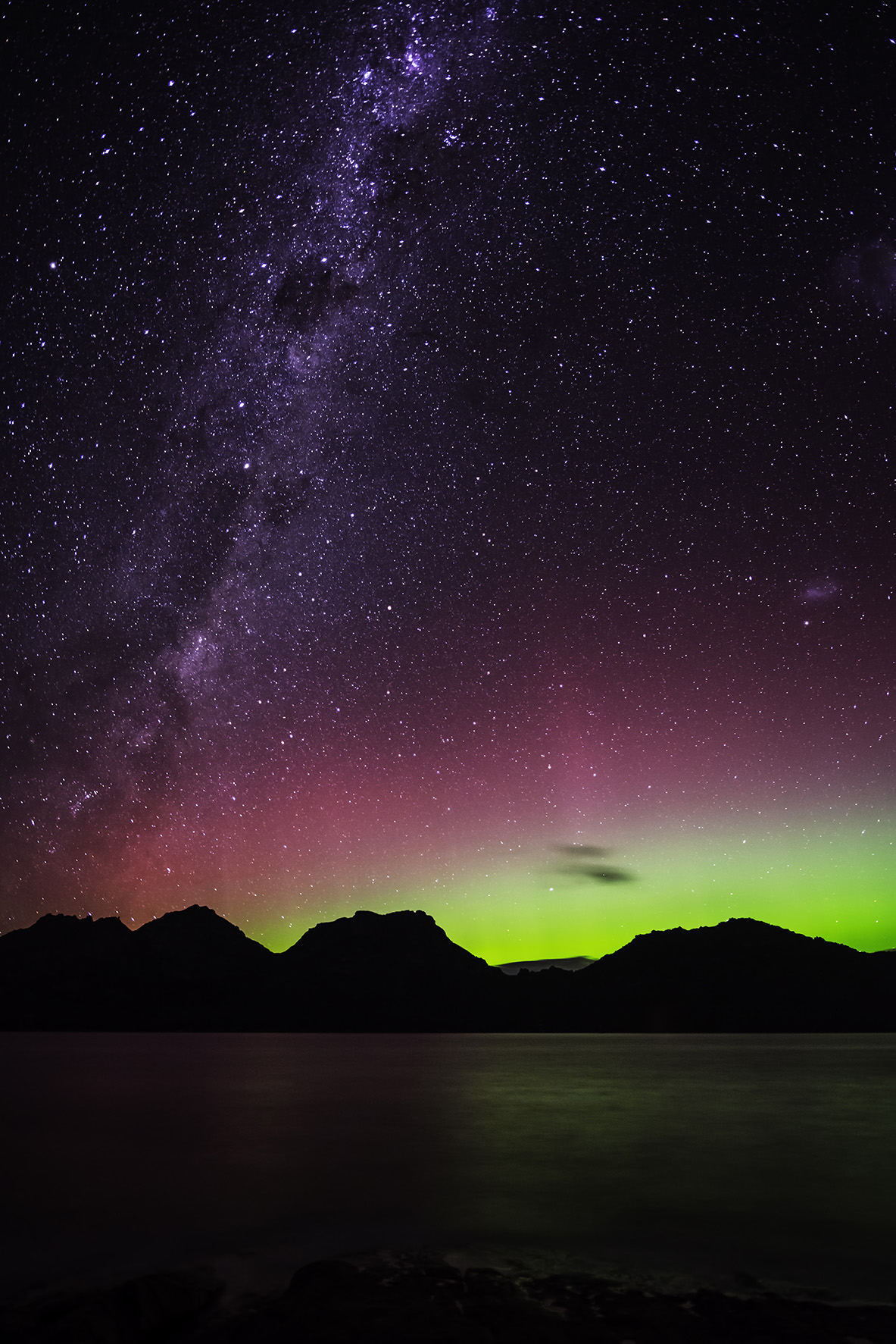 Aurora Australis over the Hazard Mountains