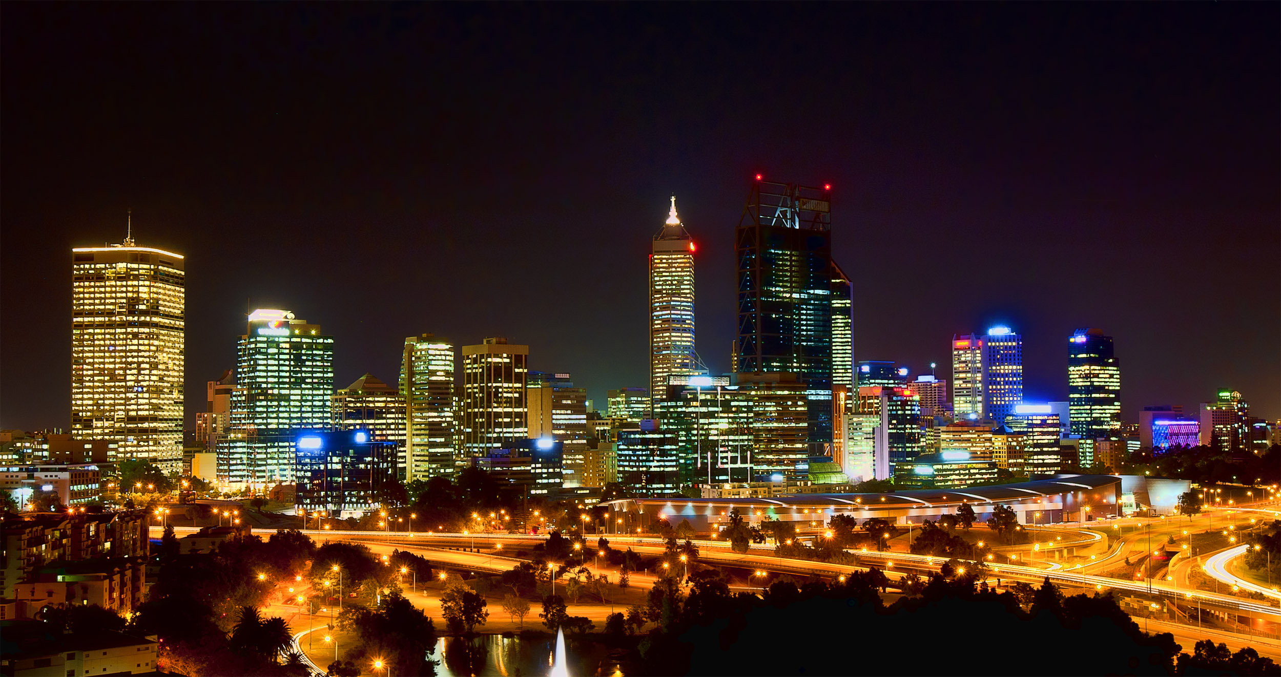 Perth City at Night from Kings Park